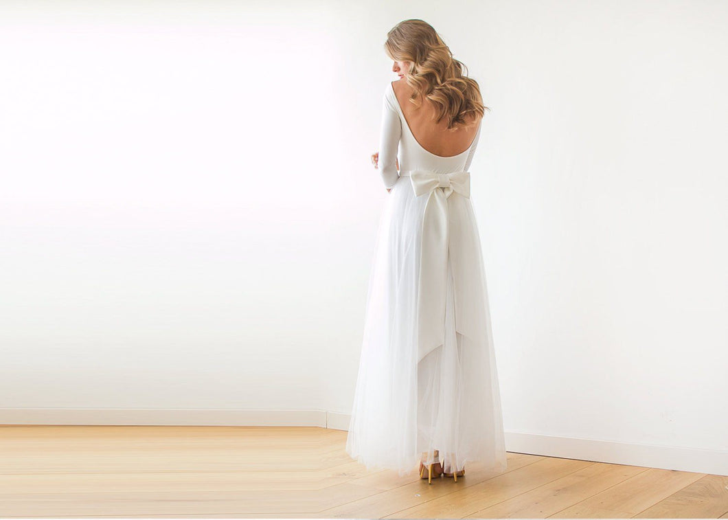 Ivory Open Back Tulle Maxi Dress - Nomad Bridal