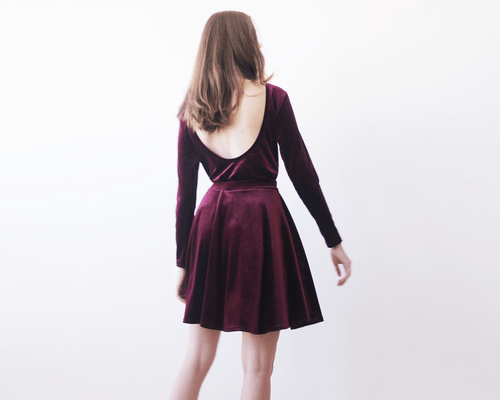 Backless Bordeaux velvet top with long sleeves - Nomad Bridal
