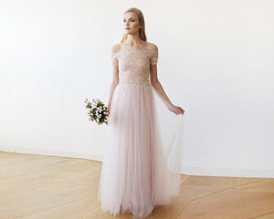 Lace off-shoulders short sleeves maxi blush tulle dress - Nomad Bridal
