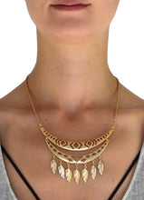 Load image into Gallery viewer, Boho Cutout Feather Fringe Necklace - Nomad Bridal