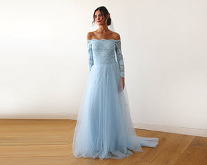 Light blue  Off-The-Shoulder Lace and Tulle Train Wedding Gown - Nomad Bridal