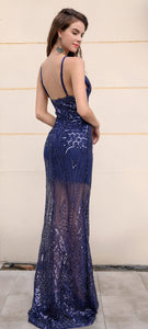 Navy Blue See Through Gown - Nomad Bridal