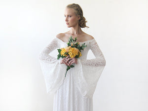 Long Bell Sleeve Off the Shoulder Lace Wedding Dress