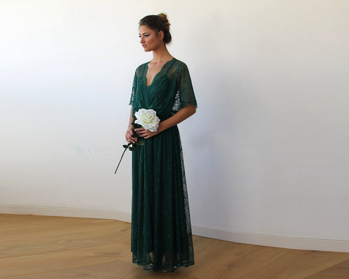 Emerald Green sheer lace maxi dress
