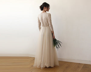 Champagne  Tulle and Lace Long Sleeve Wedding Maxi Dress - Nomad Bridal