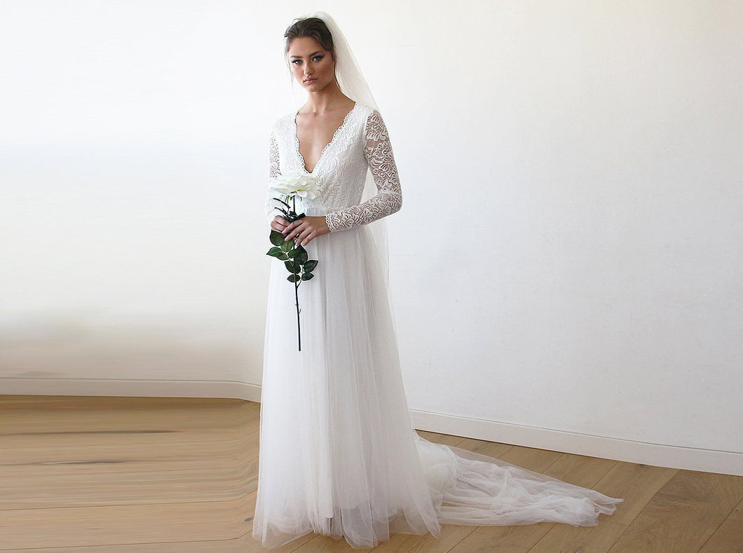 Ivory Tulle and Lace Long Sleeve Wedding Train Gown - Nomad Bridal