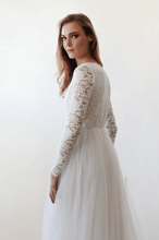 Load image into Gallery viewer, Ivory Tulle and Lace Long Sleeve Wedding Train Gown - Nomad Bridal