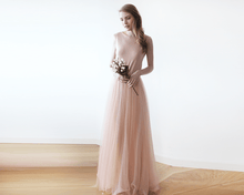 Load image into Gallery viewer, Blush Pink Backless Tulle Maxi Dress - Nomad Bridal