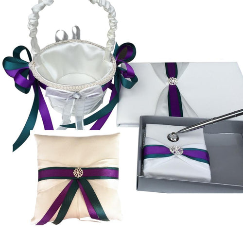 Ring Pillow, Flower Basket, Guest Book and Pen set - Teal and purple