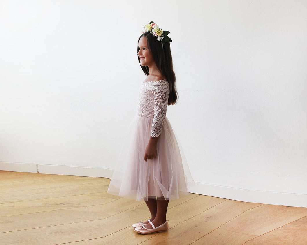 Off-The-Shoulder Pink Lace and Tulle Midi Girls Gown
