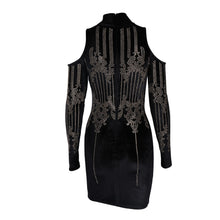 Load image into Gallery viewer, Black Geometric Studded Dress - Nomad Bridal