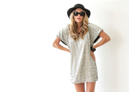 Sparkling Silver Sequin Mini Dress