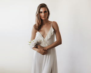 Bridal maxi wrap dress with ruffle and straps - Nomad Bridal