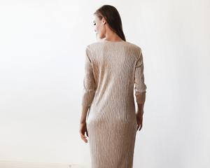 Glamorous Gold Long Sleeve Pleated Maxi Dress - Nomad Bridal