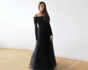Black Off-The-Shoulder Lace and Tulle Maxi Dress - Nomad Bridal