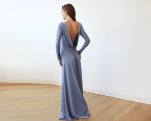 Dusty blue Long Sleeve Formal Maxi Dress With Open-back - Nomad Bridal