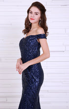 Load image into Gallery viewer, Navy Blue Sequin Gown - Nomad Bridal