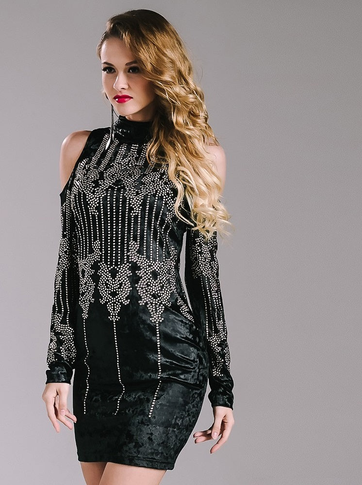 Black Geometric Studded Dress - Nomad Bridal