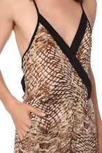 Load image into Gallery viewer, Khaki animal print jumpsuit with black trim