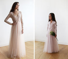 Load image into Gallery viewer, Tulle and lace long sleeves Pink Flower Girls Gown