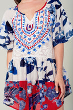 Load image into Gallery viewer, Floral boho dress in blue - Nomad Bridal