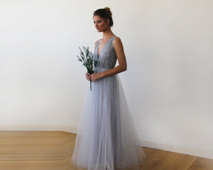 Light Grey Tulle and Lace Maxi Gown - Nomad Bridal
