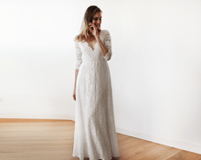 Load image into Gallery viewer, Lace three quarters Sleeve Wedding maxi dress - Nomad Bridal