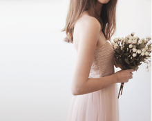 Load image into Gallery viewer, Pink sequin strapless maxi tulle dress - Nomad Bridal