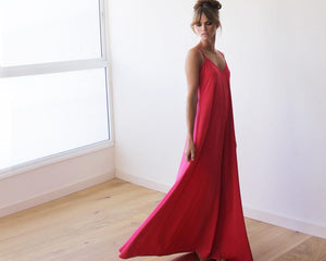 Red Straps Basic Maxi Dress - Nomad Bridal
