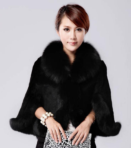 Fur Faux Cape Overcoat- available in Black and White