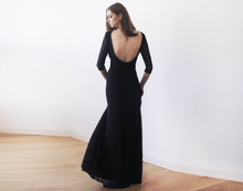 Load image into Gallery viewer, Black Floral Lace Maxi Gown With Open-Back - Nomad Bridal