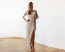 Load image into Gallery viewer, Glamorous Gold Long Sleeve Pleated Maxi Dress - Nomad Bridal