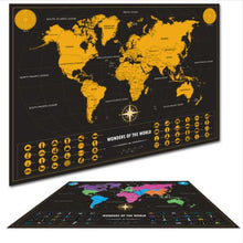 Load image into Gallery viewer, Scratch Map small mini version of black Scratch Map creative luxury world version of black gold travel Map. - Nomad Bridal