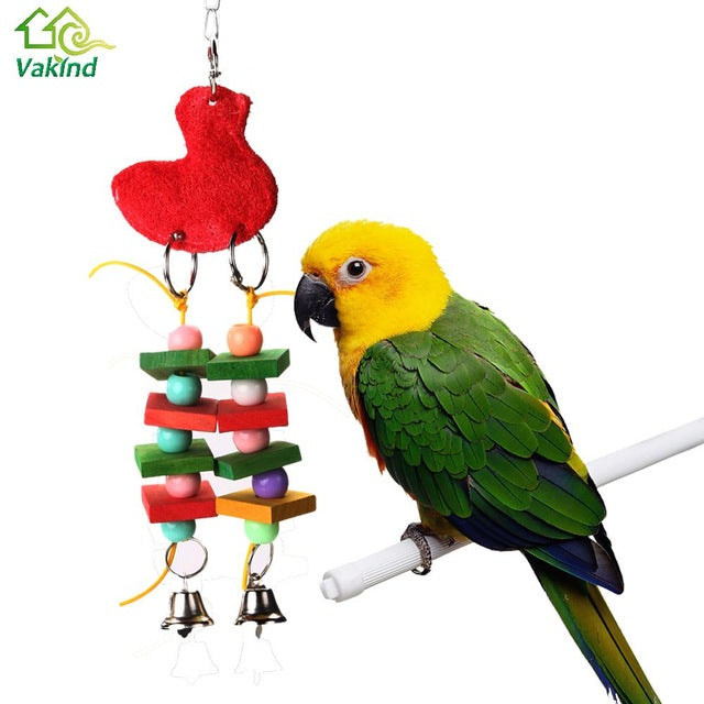 Bird Cage Toys Natural Rattan Birds Nest with 2 Metal Bells for Budgies Cockatiel Parrots Parakeets Lovebirds African Greys Cockatoo Biting Chewing Swing Standing Perching Toy 27 x 12cm