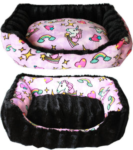 Reversible bumper dog bed Pink Unicorn Medium