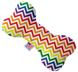 Rainbow Chevron 10 inch Stuffing Free Bone Dog Toy