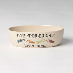 One Spoiled Cat Oval Cat Food Bowl