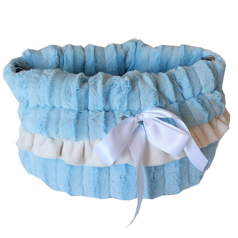 Reversible Snuggle Bugs Pet Bed, Bag, and Car Seat - Baby Blue