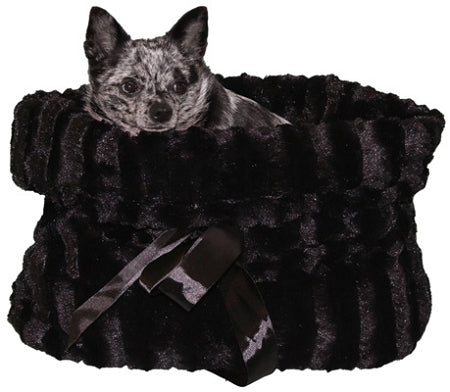 Black Reversible Snuggle Bugs Pet Bed, Bag, and Car Seat in One