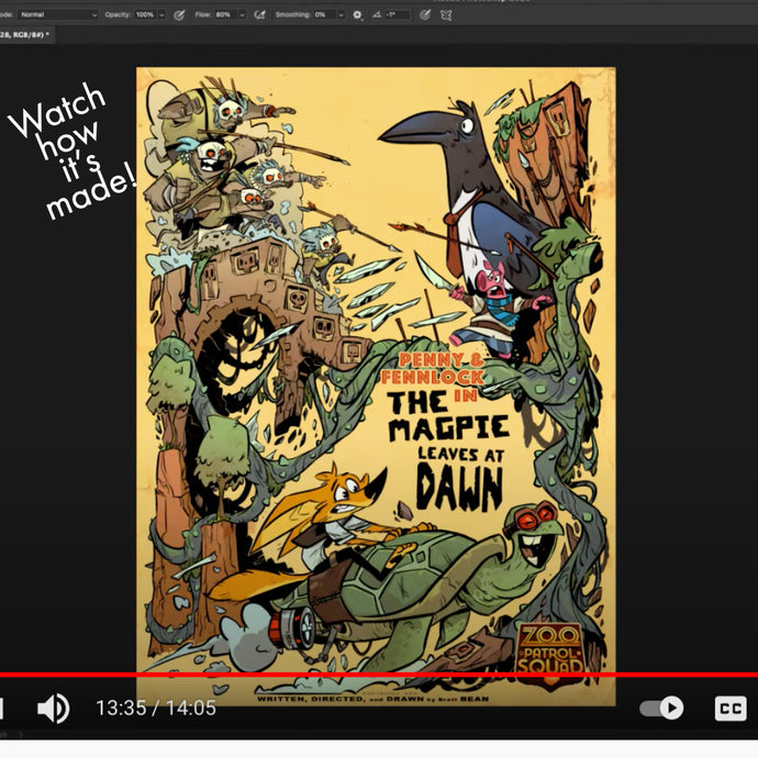 Watch and Listen as Brett Creates the Poster - The Zoo Patrol Squad in The Magpie Leaves at Dawn