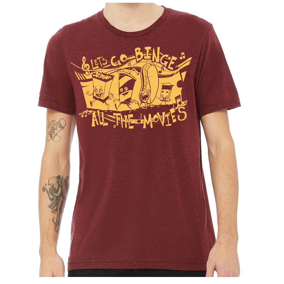 Let's Go Binge All The Movies Soft Triblend T-shirt in Cardinal Red