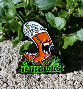 Frappasaurus - The Coffee Loving Dinosaur Enamel Pin