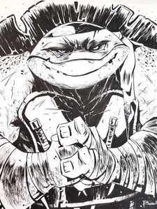 ORIGINAL Drawing - Ninja Turtle Inked Drawing by Brett Bean