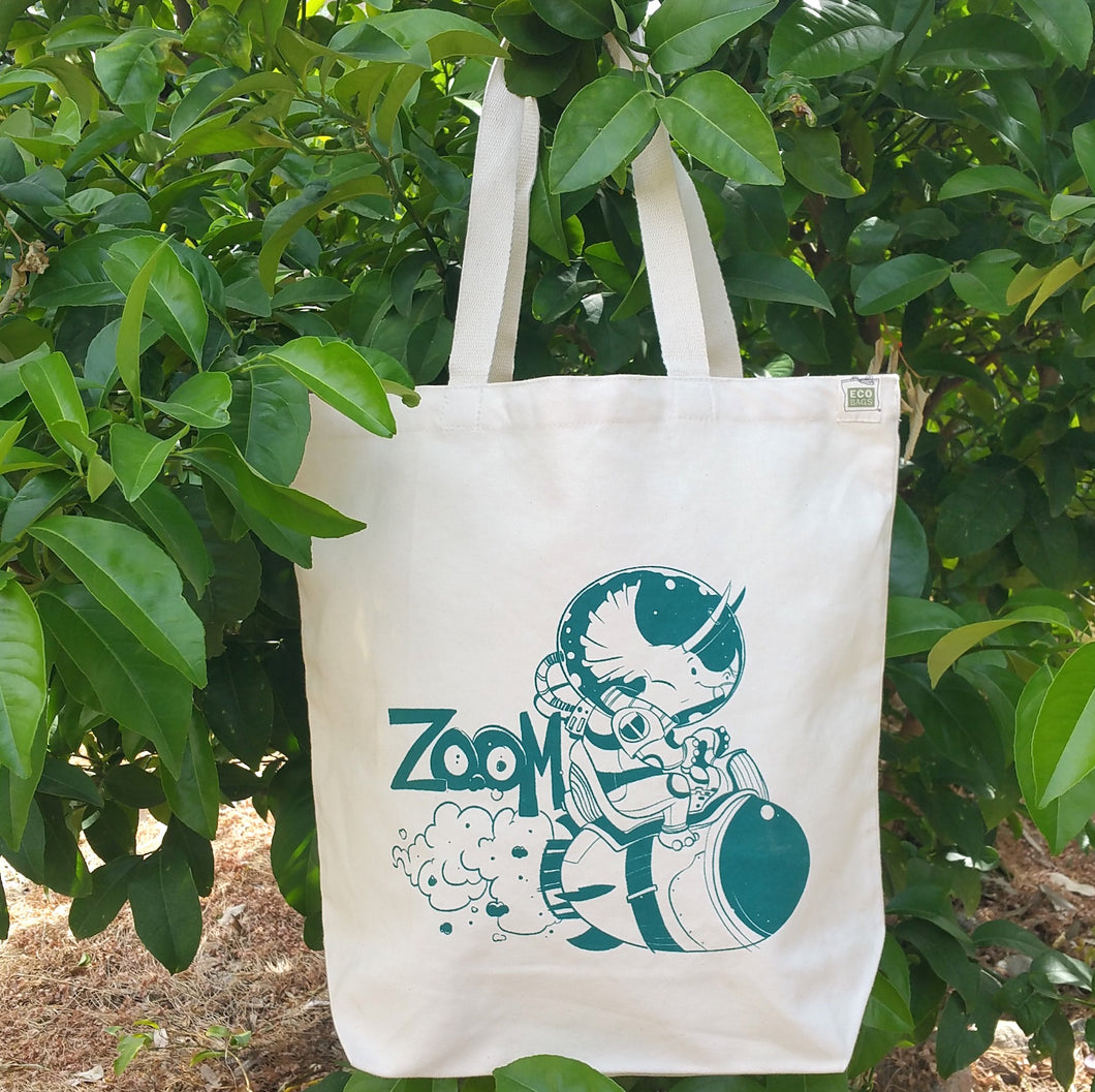 Zoom Triceratops Space Dinosaur Reusable Tote Bag - Organic Cotton