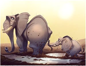 A Parents Love Elephant Art Print 8.5 inches x 11 inches Signed