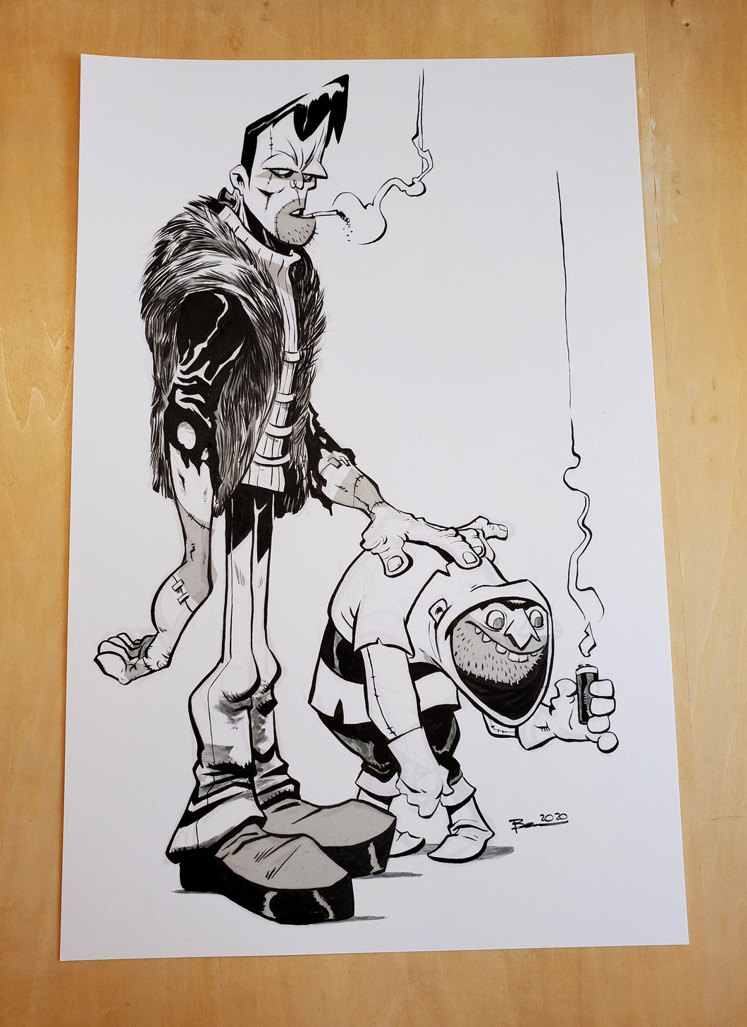 ORIGINAL Drawing - Frank and Iggy Inked Drawing by Brett Bean