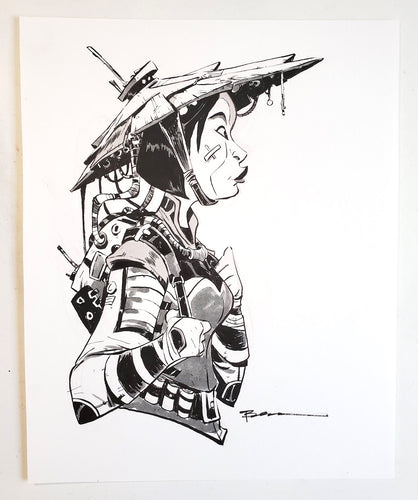 ORIGINAL Drawing - Future Warrior Inked Drawing by Brett Bean