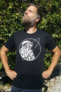 Final Frontier Skeleton Astronaut Black and White T-shirt