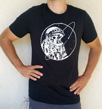 Load image into Gallery viewer, Final Frontier Skeleton Astronaut Black and White T-shirt