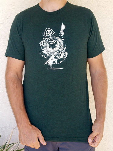 New Argh Matey Pirate Soft Triblend T-shirt in Emerald Green with White Printed Pirate